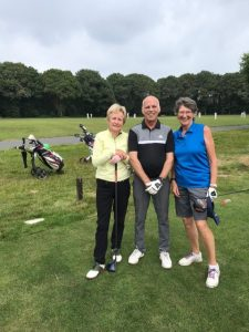 Ladies Vice Captain Rosemayre Barry, men's Vice Captain Nigel Ford and Ladies Captain Irene Crook during their Captain's Day golf round.